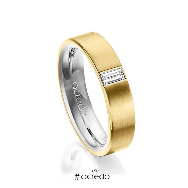 bicolor Trauring/Ehering in außen Gelbgold 750 , innen Platin 950 mit zus. 0,2 ct. Baguette-Diamant tw, vs von acredo