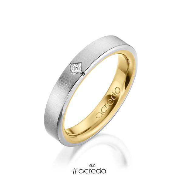 bicolor Trauring/Ehering in außen Graugold 585 , innen Gelbgold 585 mit zus. 0,05 ct. Prinzess-Diamant tw, si von acredo