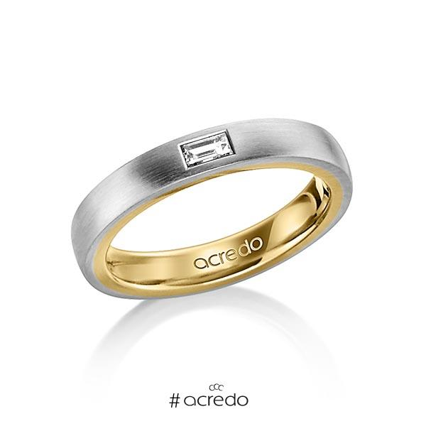 bicolor Trauring/Ehering in außen Graugold 585 , innen Gelbgold 585 mit zus. 0,15 ct. Baguette-Diamant tw, vs von acredo