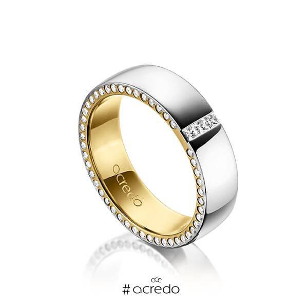 bicolor Trauring/Ehering in außen Graugold 585 , innen Gelbgold 585 mit zus. 0,325 ct. Prinzess-Diamant & Brillant tw, si von acredo