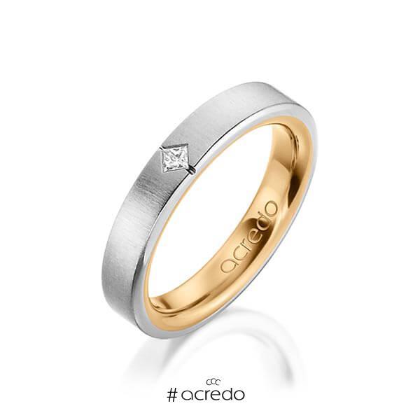 bicolor Trauring/Ehering in außen Graugold 585 , innen Roségold 585 mit zus. 0,05 ct. Prinzess-Diamant tw, si von acredo