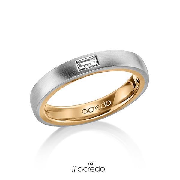 bicolor Trauring/Ehering in außen Graugold 585 , innen Roségold 585 mit zus. 0,15 ct. Baguette-Diamant tw, vs von acredo