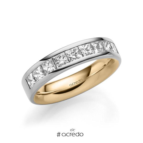 bicolor Trauring/Ehering in außen Graugold 585 , innen Roségold 585 mit zus. 1,2 ct. Prinzess-Diamant tw, si von acredo