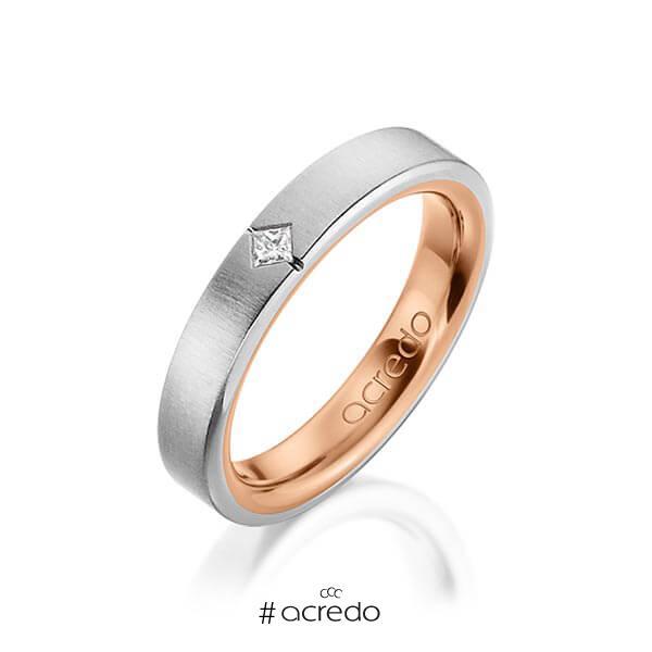 bicolor Trauring/Ehering in außen Graugold 585 , innen Rotgold 585 mit zus. 0,05 ct. Prinzess-Diamant tw, si von acredo