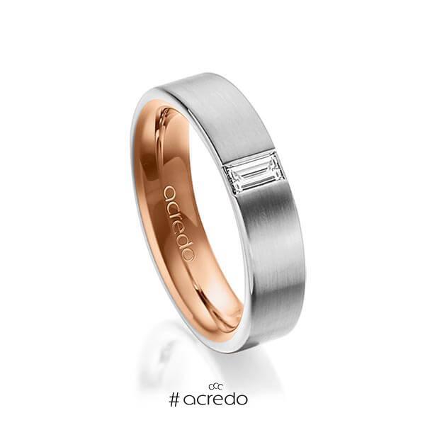 bicolor Trauring/Ehering in außen Graugold 585 , innen Rotgold 585 mit zus. 0,2 ct. Baguette-Diamant tw, vs von acredo
