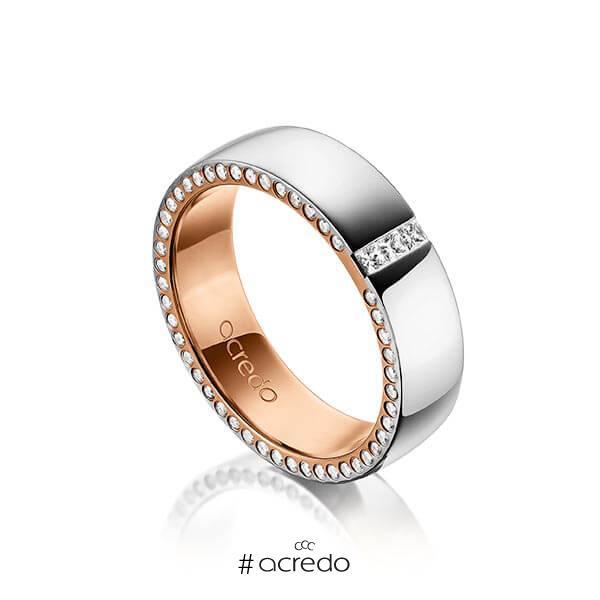 bicolor Trauring/Ehering in außen Graugold 585 , innen Rotgold 585 mit zus. 0,325 ct. Prinzess-Diamant & Brillant tw, si von acredo