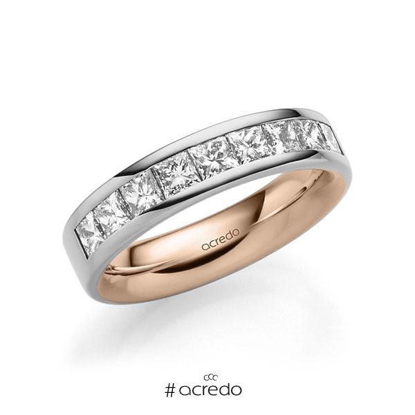 bicolor Trauring/Ehering in außen Graugold 585 , innen Rotgold 585 mit zus. 1,2 ct. Prinzess-Diamant tw, si von acredo