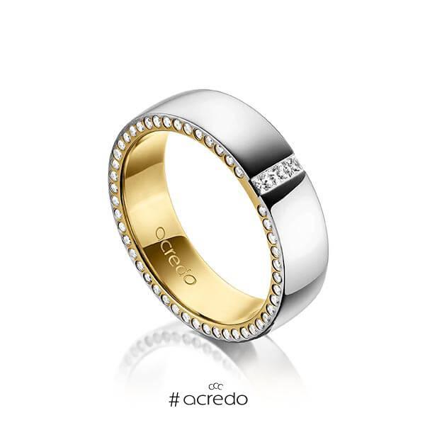 bicolor Trauring/Ehering in außen Platin 950 , innen Gelbgold 750 mit zus. 0,325 ct. Prinzess-Diamant & Brillant tw, si von acredo
