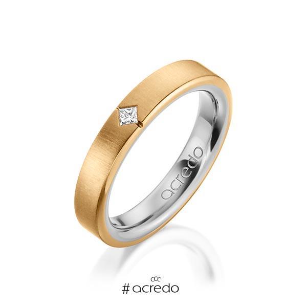 bicolor Trauring/Ehering in außen Roségold 585 , innen Graugold 585 mit zus. 0,05 ct. Prinzess-Diamant tw, si von acredo