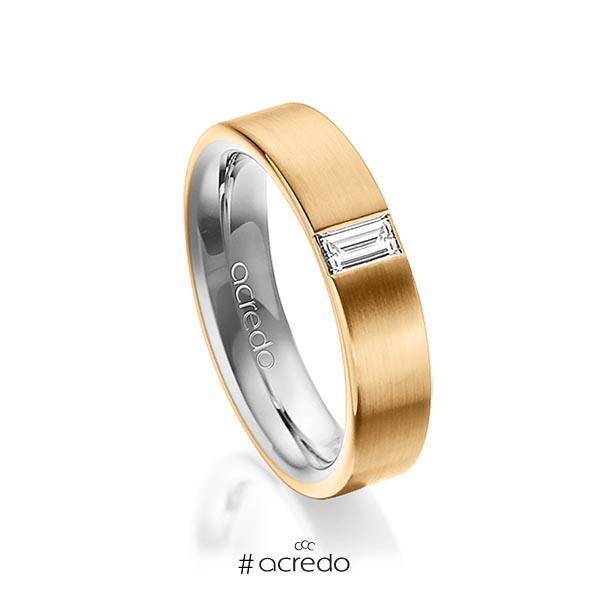 bicolor Trauring/Ehering in außen Roségold 585 , innen Graugold 585 mit zus. 0,2 ct. Baguette-Diamant tw, vs von acredo