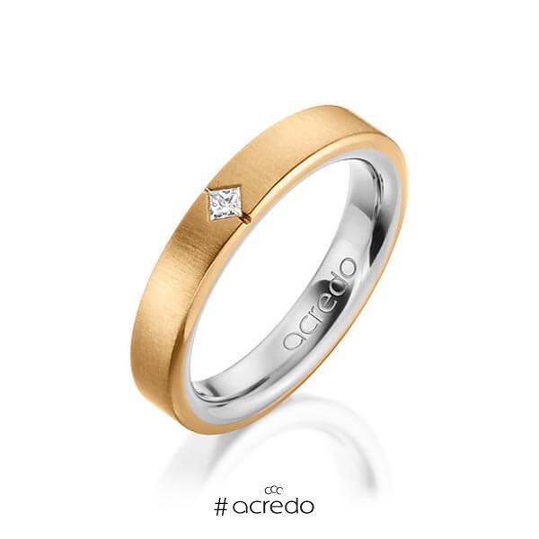 bicolor Trauring/Ehering in außen Roségold 750 , innen Platin 950 mit zus. 0,05 ct. Prinzess-Diamant tw, si von acredo