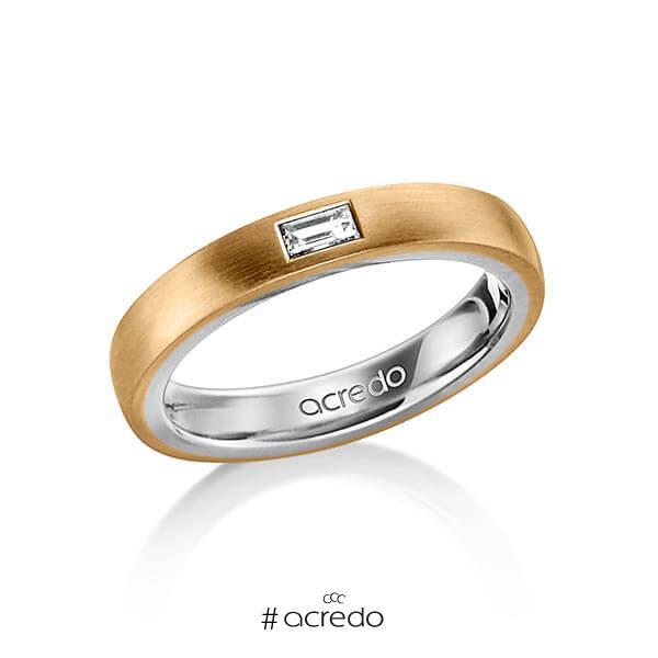 bicolor Trauring/Ehering in außen Roségold 750 , innen Platin 950 mit zus. 0,15 ct. Baguette-Diamant tw, vs von acredo