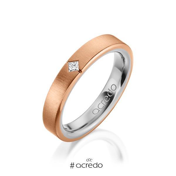 bicolor Trauring/Ehering in außen Rotgold 585 , innen Graugold 585 mit zus. 0,05 ct. Prinzess-Diamant tw, si von acredo