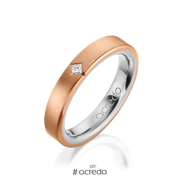 bicolor Trauring/Ehering in außen Rotgold 750 , innen Platin 950 mit zus. 0,05 ct. Prinzess-Diamant tw, si von acredo