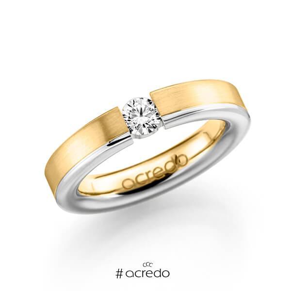 bicolor Trauring/Ehering in Gelbgold 585 Weißgold 585 mit 0,3 ct. Brillant tw, si von acredo