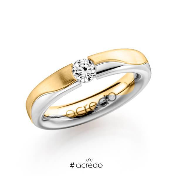 bicolor Trauring/Ehering in Gelbgold 585 Weißgold 585 mit 0,3 ct. Brillant w, si von acredo
