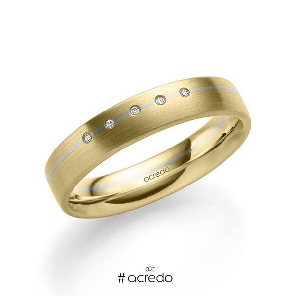 bicolor Trauring/Ehering in Gelbgold 585 Weißgold 585 mit zus. 0,025 ct. Brillant tw, si von acredo