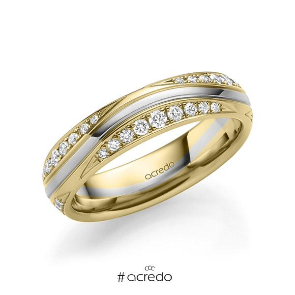 bicolor Trauring/Ehering in Gelbgold 585 Weißgold 585 mit zus. 0,576 ct. Brillant tw, si von acredo