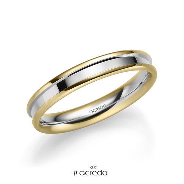 bicolor Trauring/Ehering in Gelbgold 585 Weißgold 585 von acredo