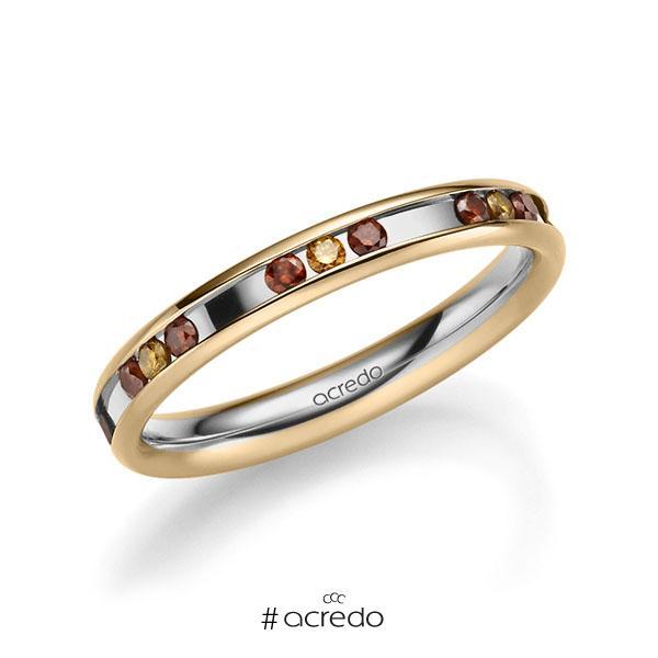 bicolor Trauring/Ehering in Roségold 585 Graugold 585 mit zus. 0,42 ct. Brillant Red Cherry cognac von acredo