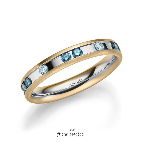 bicolor Trauring/Ehering in Roségold 585 Graugold 585 mit zus. 0,6 ct. Brillant iceblue oceanblue von acredo