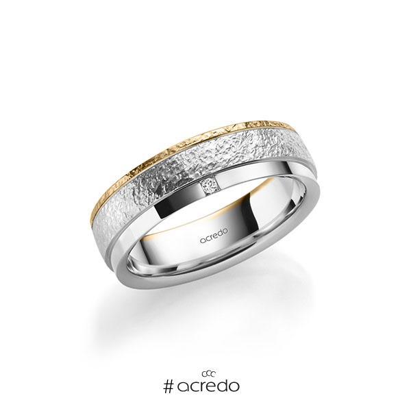 bicolor Trauring/Ehering in Roségold 585 Weißgold 585 crushed Struktur, mit zus. 0,03 ct. Prinzess-Diamant tw, si von acredo