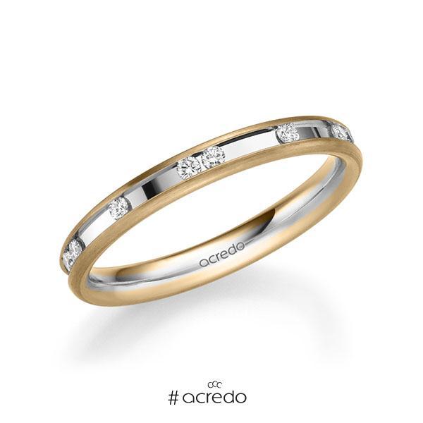bicolor Trauring/Ehering in Roségold 585 Weißgold 585 mit zus. 0,225 ct. Brillant tw, si von acredo