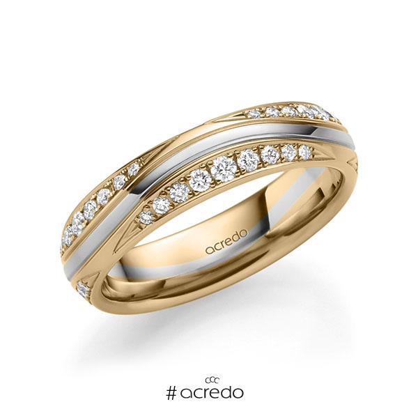 bicolor Trauring/Ehering in Roségold 585 Weißgold 585 mit zus. 0,576 ct. Brillant tw, si von acredo