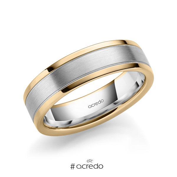 bicolor Trauring/Ehering in Roségold 585 Weißgold 585 von acredo