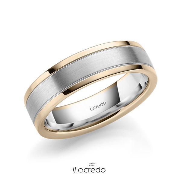 bicolor Trauring/Ehering in Signature Gold 585 Weißgold 585 von acredo