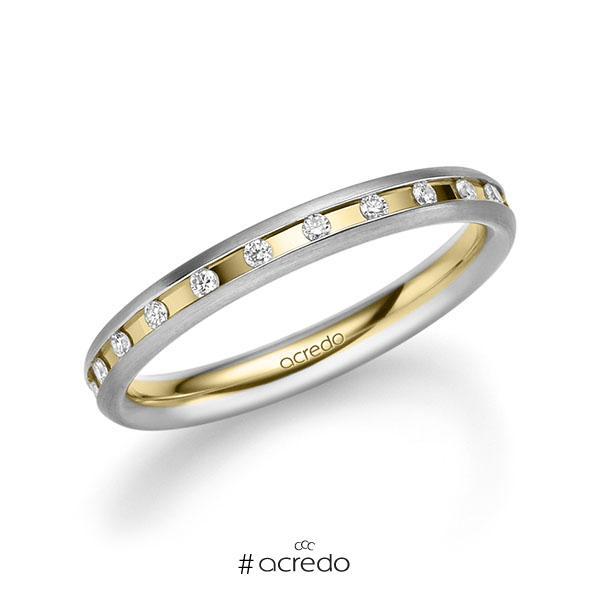 bicolor Trauring/Ehering in Weißgold 585 Gelbgold 585 mit zus. 0,22 ct. Brillant tw, si von acredo
