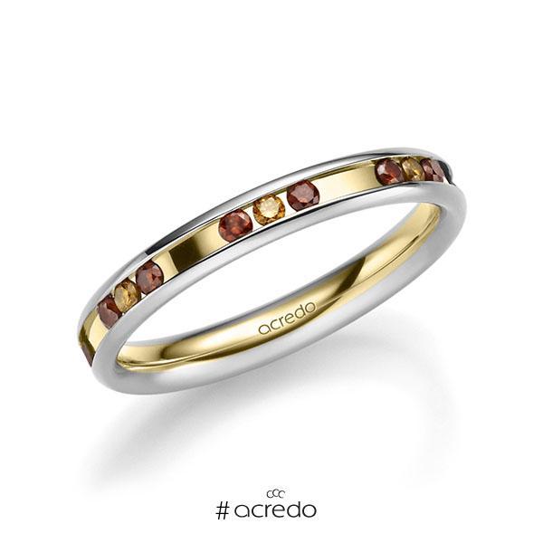 bicolor Trauring/Ehering in Weißgold 585 Gelbgold 585 mit zus. 0,42 ct. Brillant Red Cherry cognac von acredo