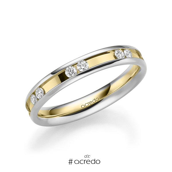 bicolor Trauring/Ehering in Weißgold 585 Gelbgold 585 mit zus. 0,42 ct. Brillant tw, si von acredo