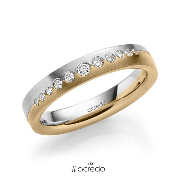 bicolor Trauring/Ehering in Weißgold 585 Roségold 585 mit zus. 0,156 ct. Brillant tw, si von acredo