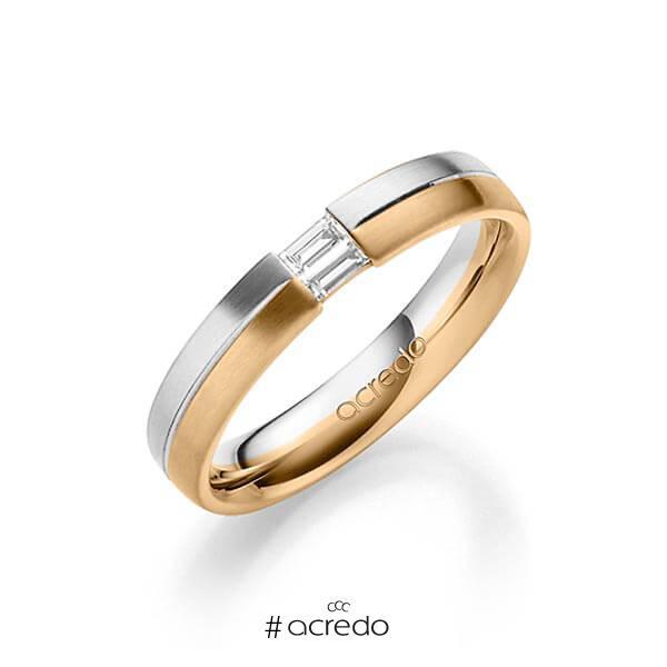 bicolor Trauring/Ehering in Weißgold 585 Roségold 585 mit zus. 0,1 ct. Baguette-Diamant tw, vs von acredo