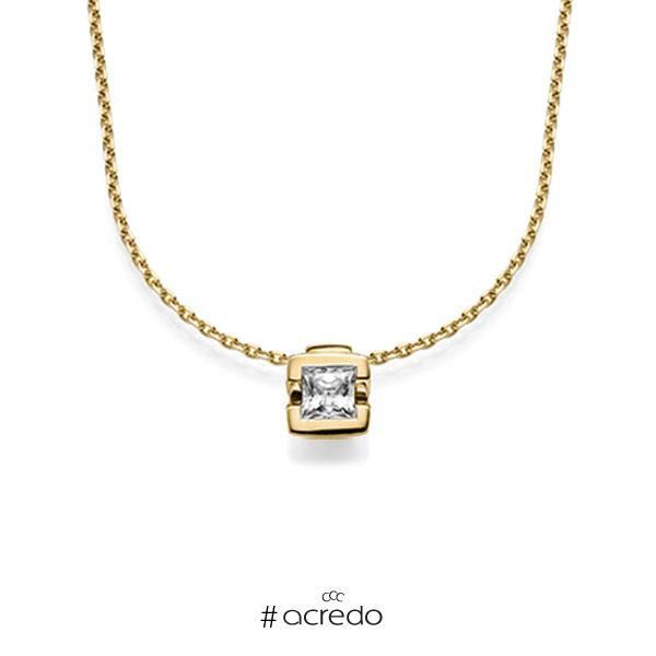 Kette mit Anhänger in Gelbgold 585 mit 0,5 ct. Prinzess-Diamant tw, vs von acredo