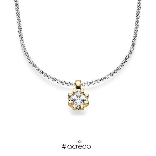Kette mit Anhänger in Gelbgold 585 mit 0,7 ct. Prinzess-Diamant tw, vs von acredo