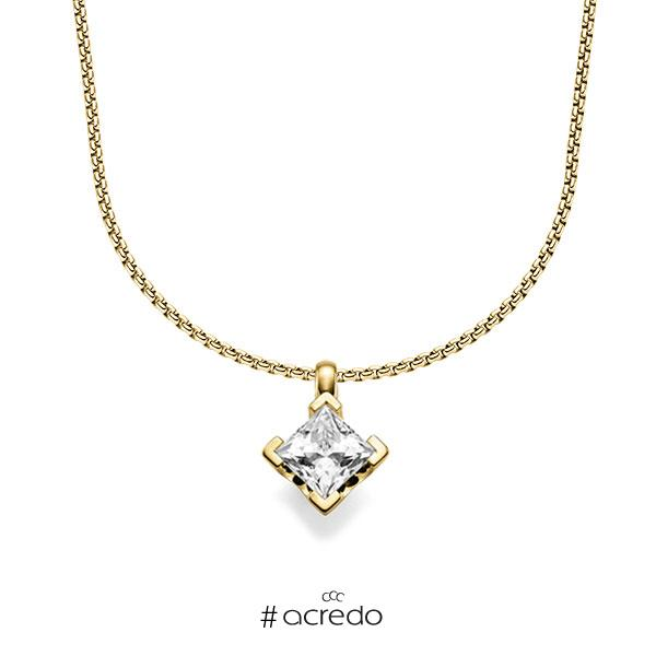Kette mit Anhänger in Gelbgold 585 mit 1 ct. Prinzess-Diamant tw, vs von acredo