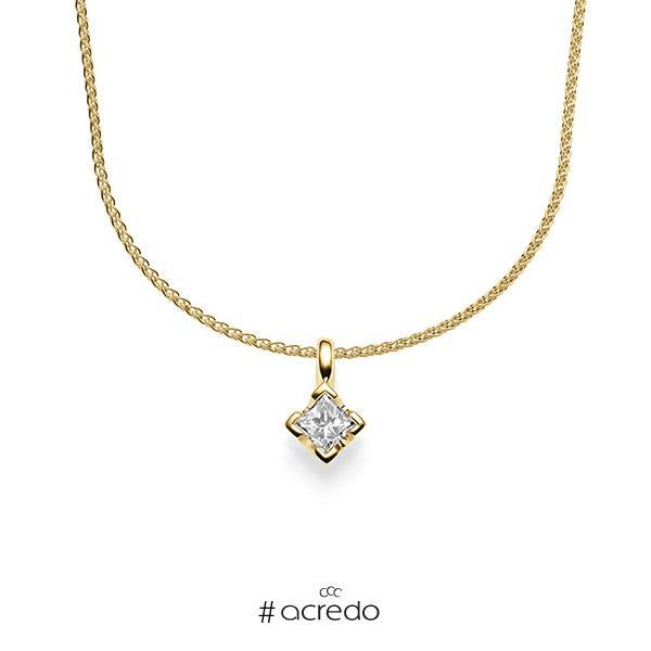 Kette mit Anhänger in Gelbgold 585 mit zus. 0,25 ct. Prinzess-Diamant tw, si von acredo