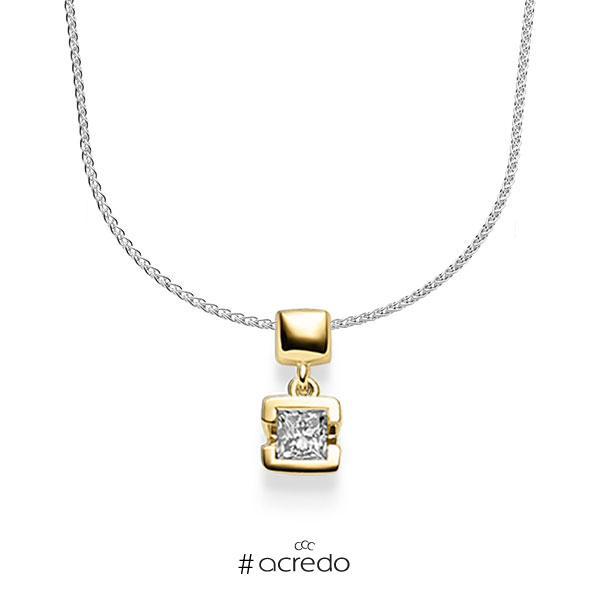 Kette mit Anhänger in Gelbgold 585 mit zus. 0,25 ct. Prinzess-Diamant tw, vs von acredo