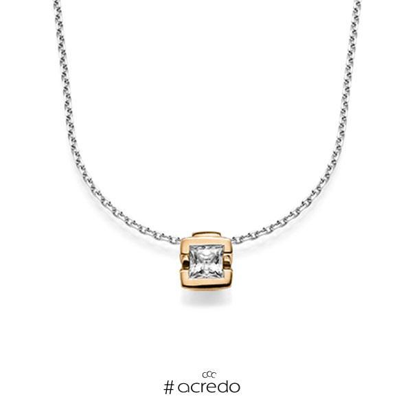 Kette mit Anhänger in Roségold 585 mit 0,5 ct. Prinzess-Diamant tw, vs von acredo