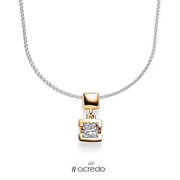 Kette mit Anhänger in Roségold 585 mit zus. 0,25 ct. Prinzess-Diamant tw, si von acredo