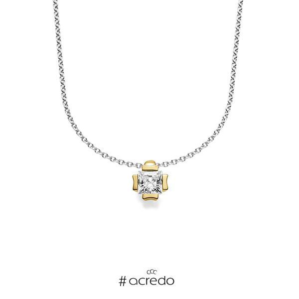 Kette mit Anhänger in Roségold 585 mit zus. 0,25 ct. Prinzess-Diamant tw, vs von acredo