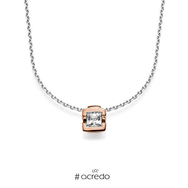 Kette mit Anhänger in Rotgold 585 mit 0,5 ct. Prinzess-Diamant tw, vs von acredo