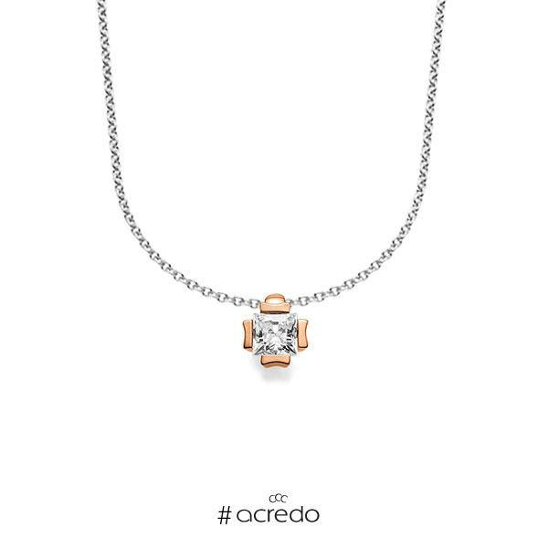 Kette mit Anhänger in Rotgold 585 mit zus. 0,25 ct. Prinzess-Diamant tw, vs von acredo