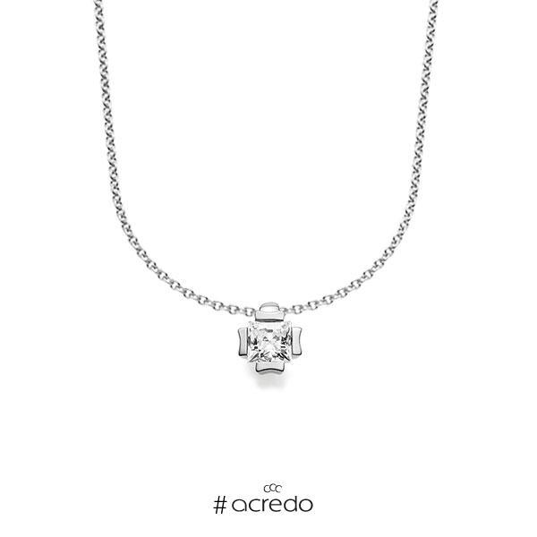 Kette mit Anhänger in Weißgold 585 mit 0,3 ct. Prinzess-Diamant tw, vs von acredo