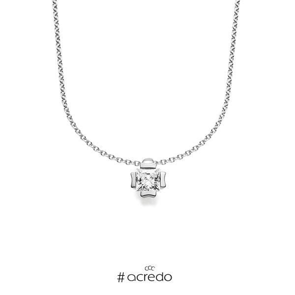 Kette mit Anhänger in Weißgold 585 mit zus. 0,2 ct. Prinzess-Diamant tw, vs von acredo