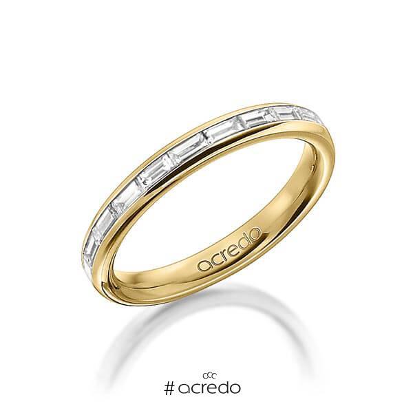 klassischer Memoire-Trauring/Ehering in außen Gelbgold 585 , innen Gelbgold 585 halbausgefasst mit zus. 0,55 ct. Baguette-Diamant tw, vs von acredo