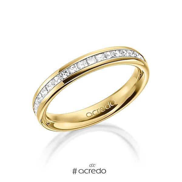 klassischer Memoire-Trauring/Ehering in außen Gelbgold 585 , innen Gelbgold 585 halbausgefasst mit zus. 0,57 ct. Prinzess-Diamant tw, si von acredo