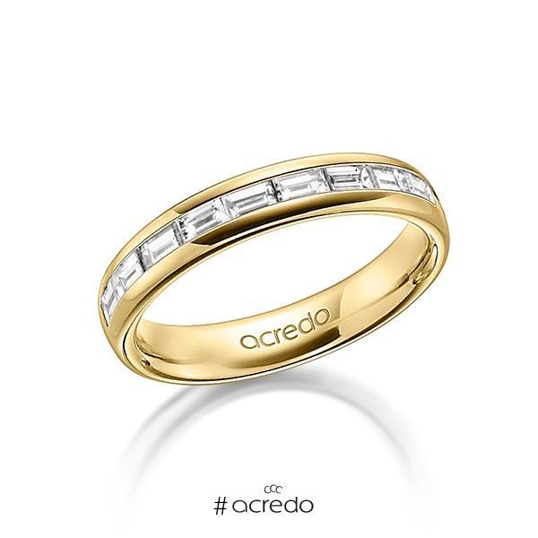 klassischer Memoire-Trauring/Ehering in außen Gelbgold 585 , innen Gelbgold 585 halbausgefasst mit zus. 0,8 ct. Baguette-Diamant tw, vs von acredo